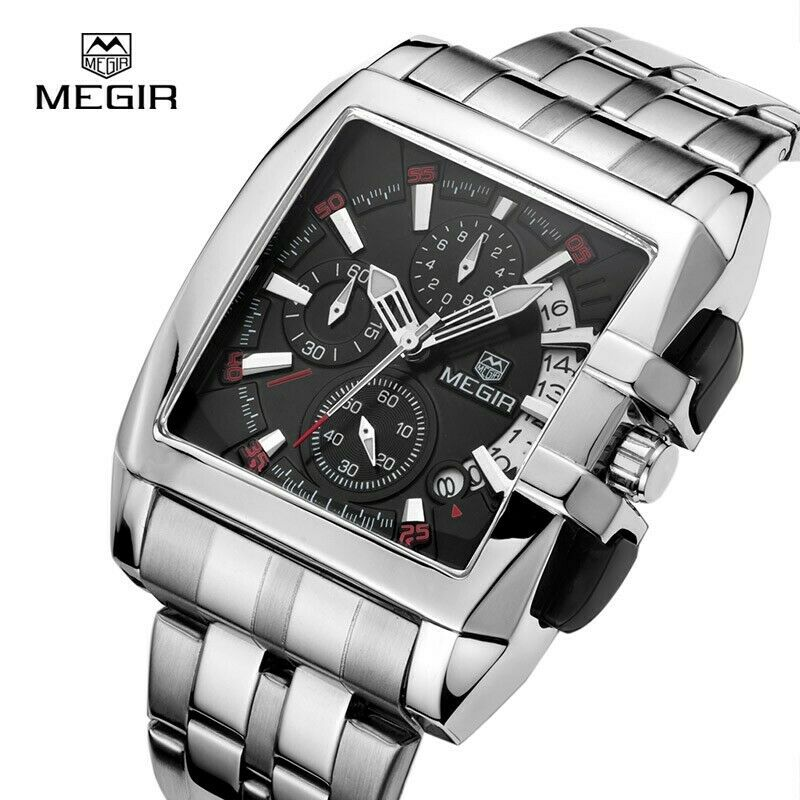 MEGIR Large Square Dial Wrist Watch Mens Chronograph Quartz Stainless Band NICE!