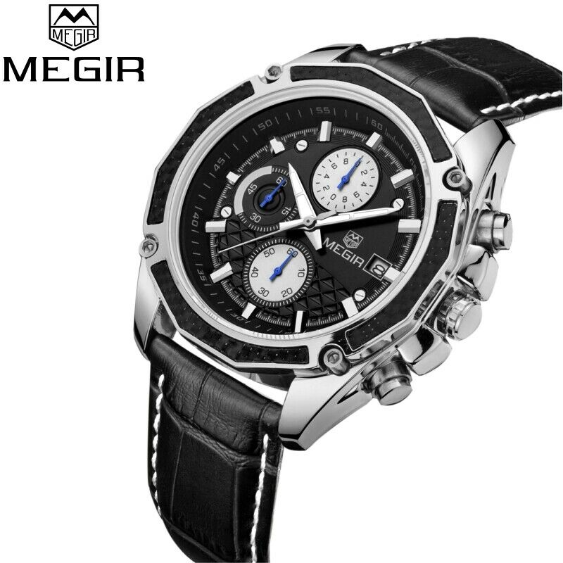 MEGIR Real Carbon Fiber White Face BLACK Leather Band Chronograph Wrist Watch