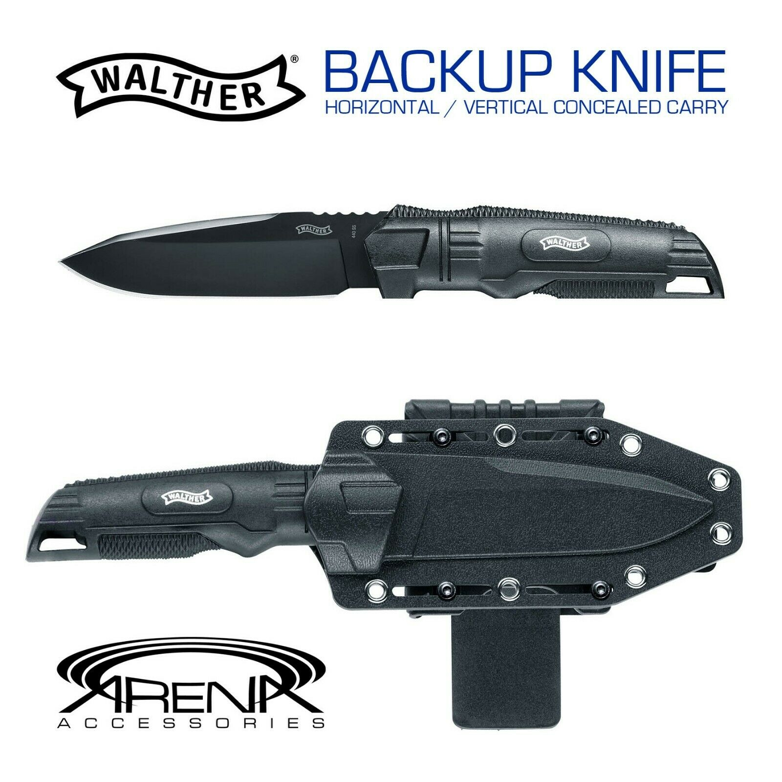 Walther BackUp Knife Horizontal Vertical Mount Conceal Carry Sheath Fixed Blade