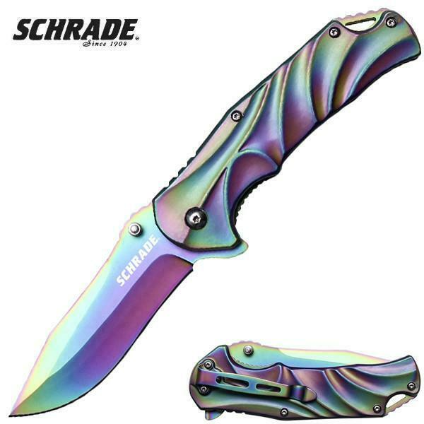 SCHRADE Matte Rainbow Titanium Spectrum Pocket Knife EDC Flipper 9Cr18MoV Blade