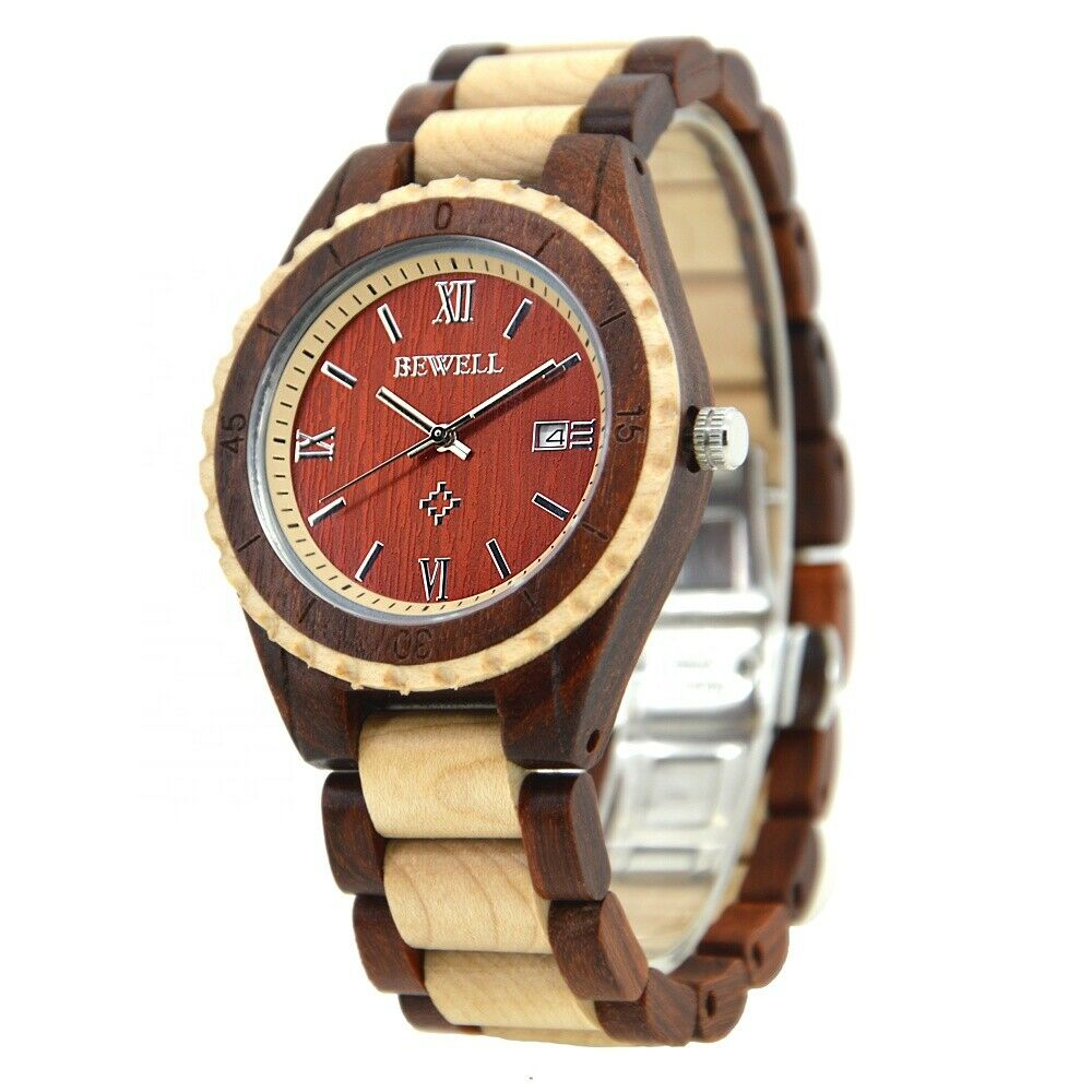Real Wood Watch Men Women Date Maple Sandalwood 41mm Butterfly Clasp Miyota Movement BeWell