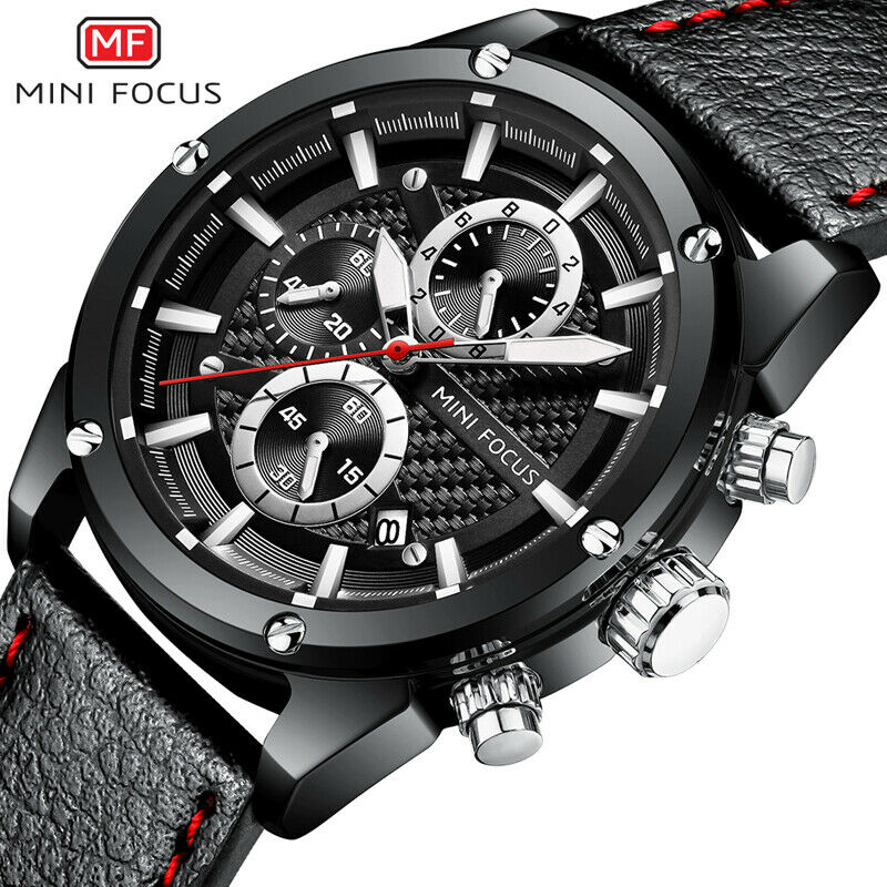 Mini Focus Carbon Fiber Texture Wrist Watch Japan Quartz Seiko Movement Working Subdial Men