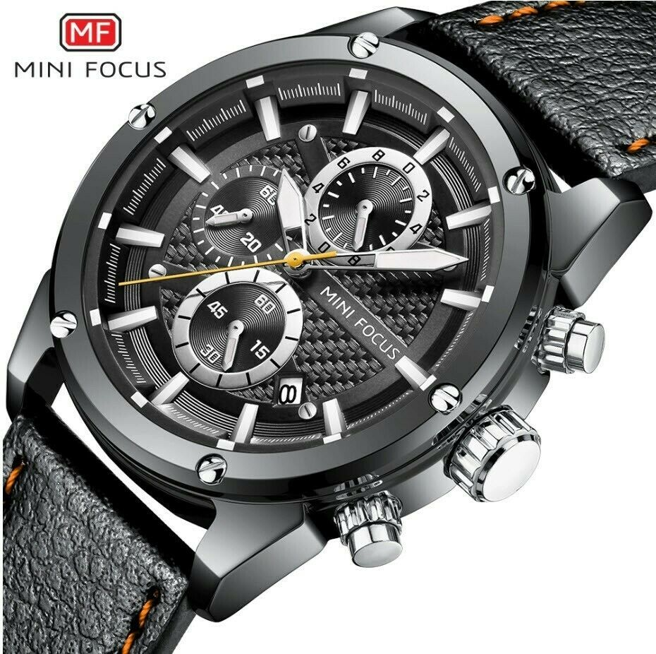 Mini Focus Carbon Fiber Texture Wrist Watch Japan Quartz Seiko Mvmt Working Subdials Silver