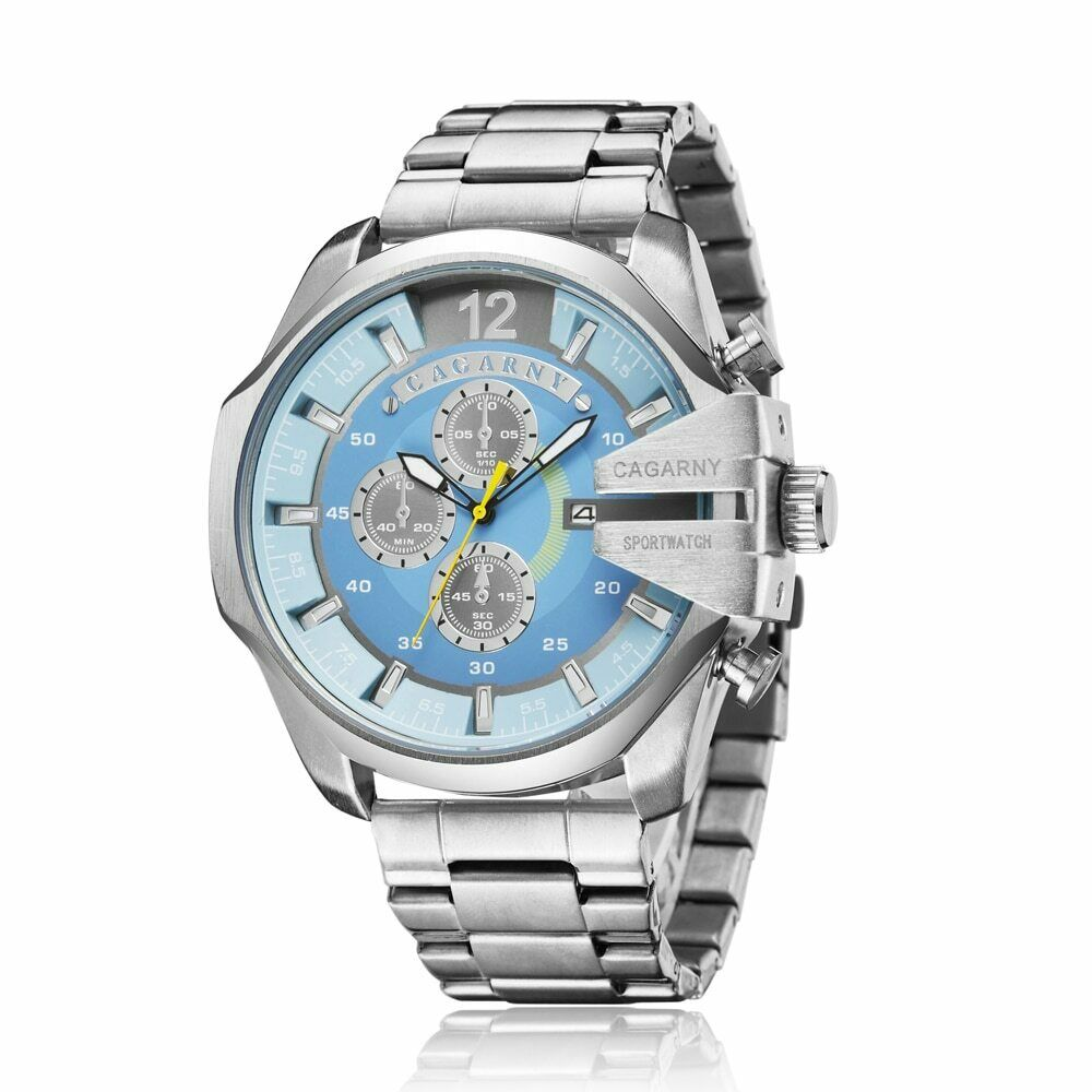 CAGARNY 6839 Men's Stainless Steel Link Band Quartz Wrist Watch with Japan Movement Huge Face & Gift Box