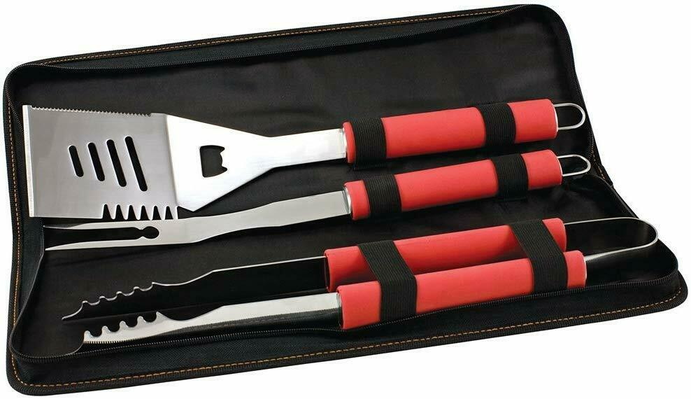 3 Pc BBQ Grill Tool Set Silicone Handle Tongs Fork Spatula Zippered Carry Case
