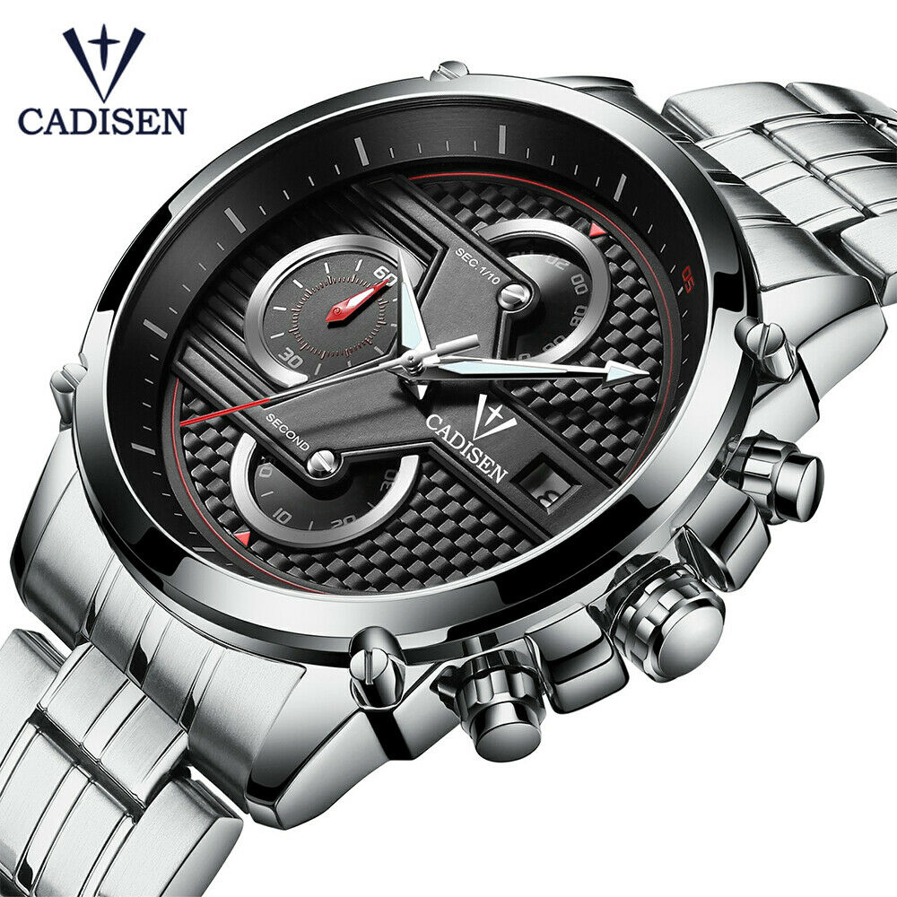 CADISEN Mens Japan Quartz Mvmt Stainless Wrist Wratch 30M Carbon Fiber Textured