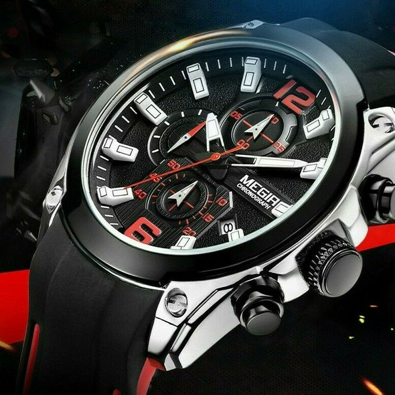 MEGIR Sport BIG FACE Wrist Watch Mens Quartz Chronograph Black Red Silicone Band