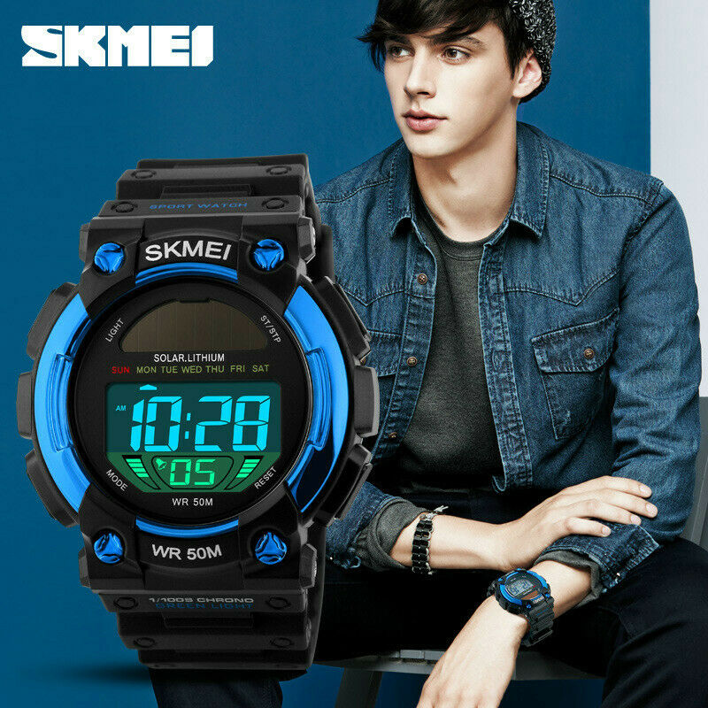 SKMEI Solar Powered Eco Sport Watch 47 mm Big Face LCD Digital 50M Waterproof