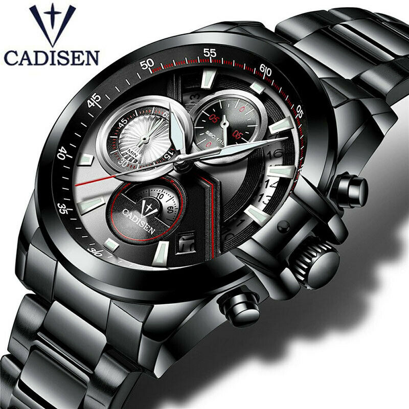 CADISEN Carbon Fiber Textured Mens Japan Quartz Mvmt Stainless Wrist Wratch 30M