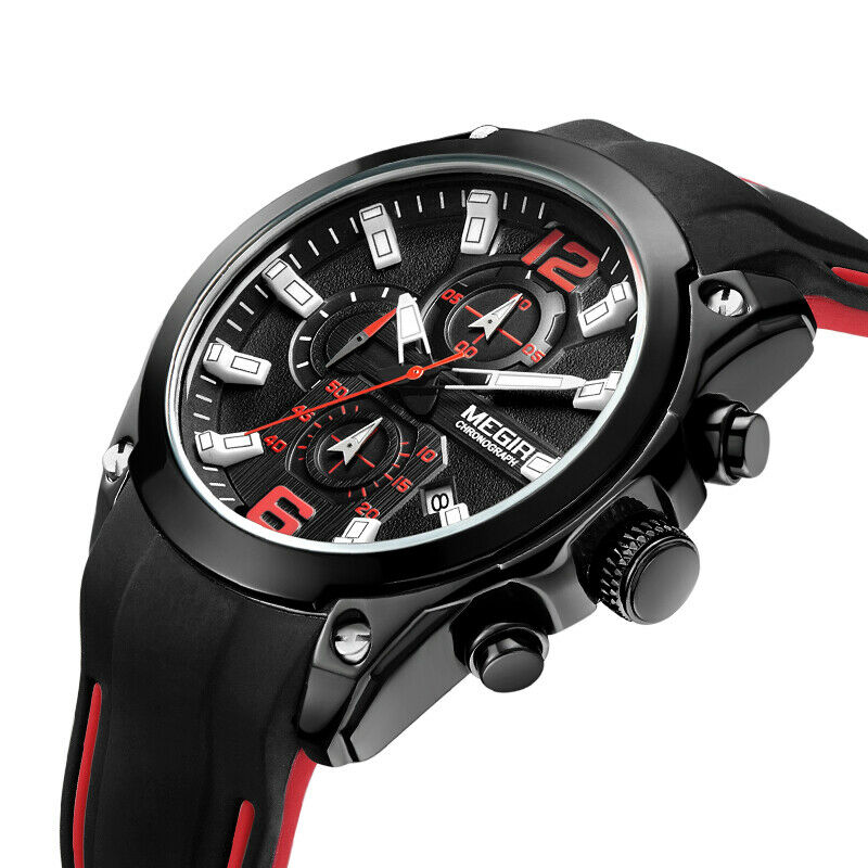 MEGIR Sport BIG FACE Wrist Watch Mens Quartz Chronograph Black Silicone Band EDC