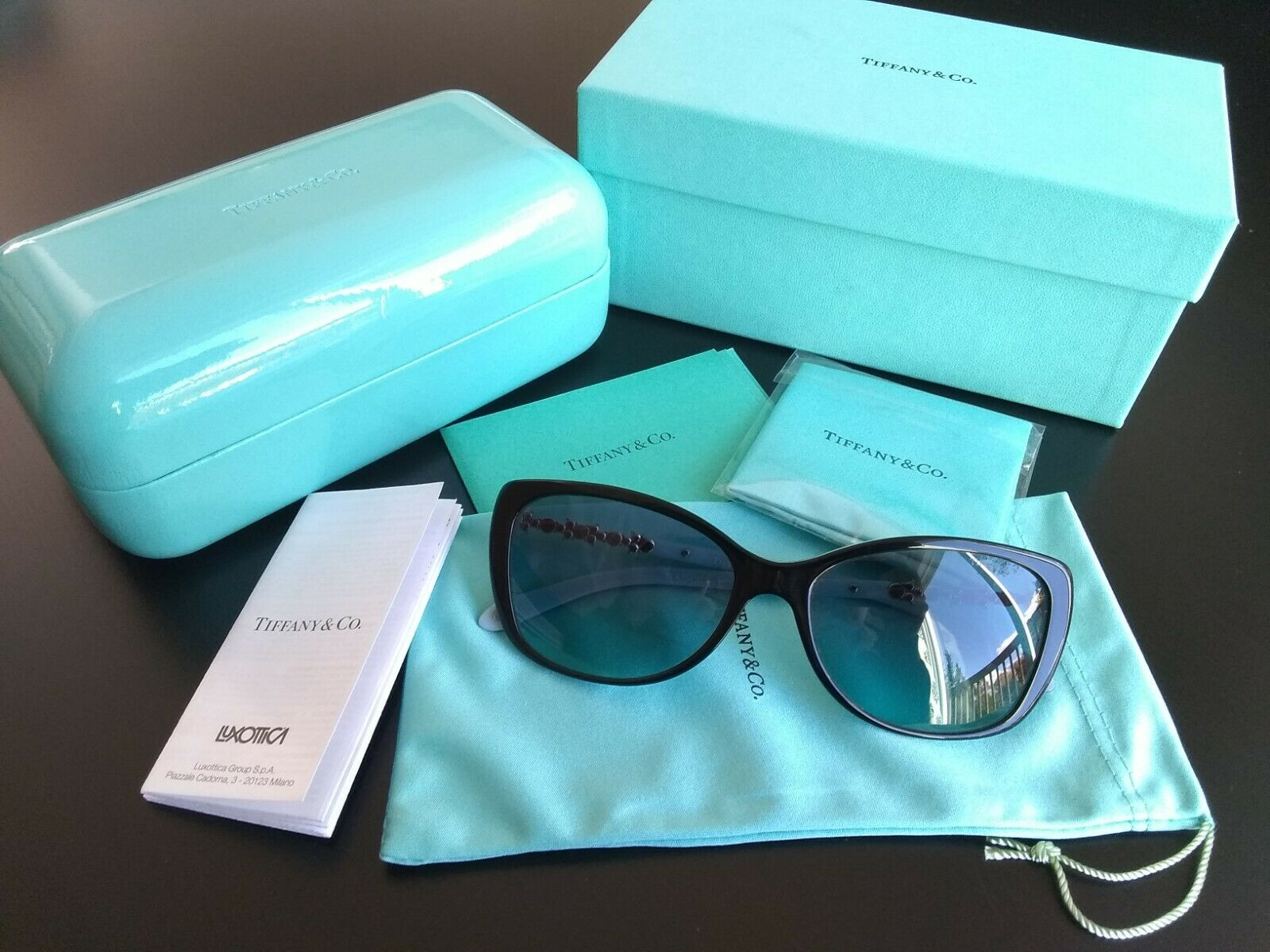 Tiffany & Co. TF-4103-H-B Cat-Eye Sunglasses Black & Blue Non-Polarized Made in Italy