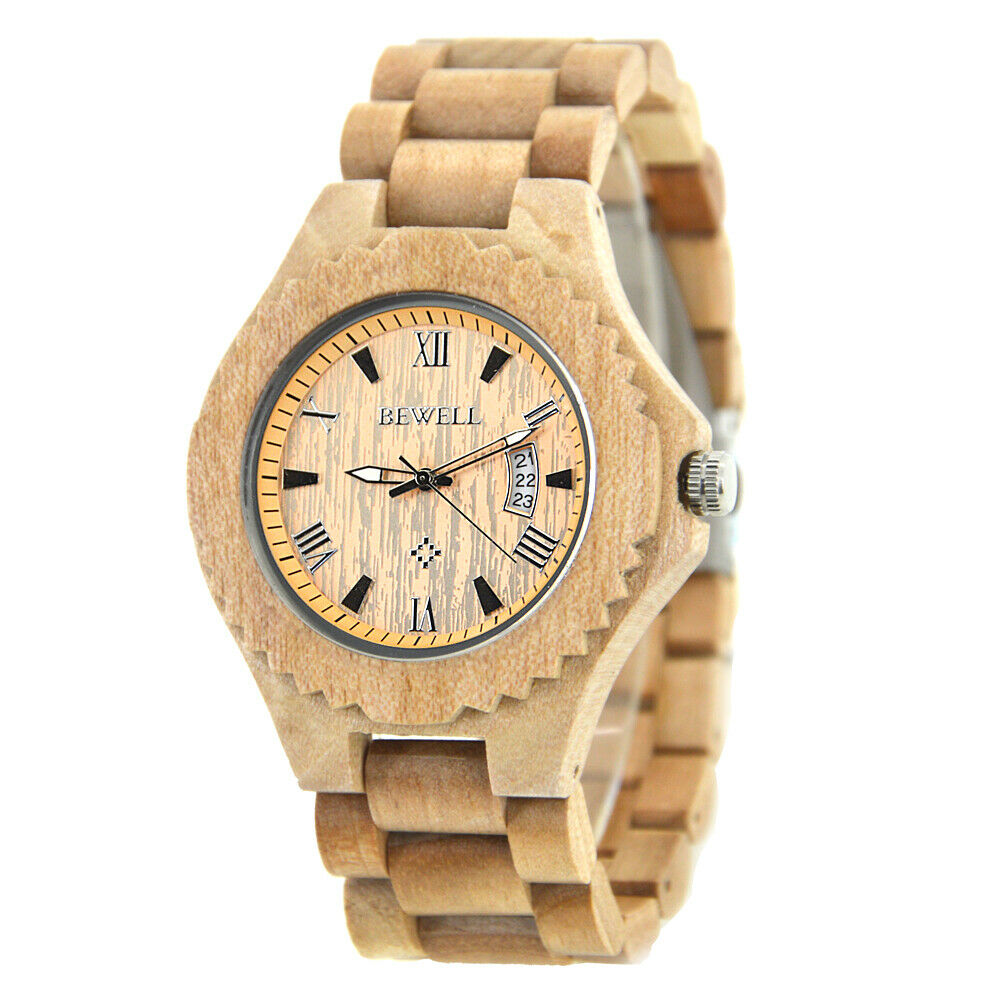 Real Jujube Wood BeWell Wrist Watch Mens Womens Date Big 46mm Japan Miyota Citizen Mvmt