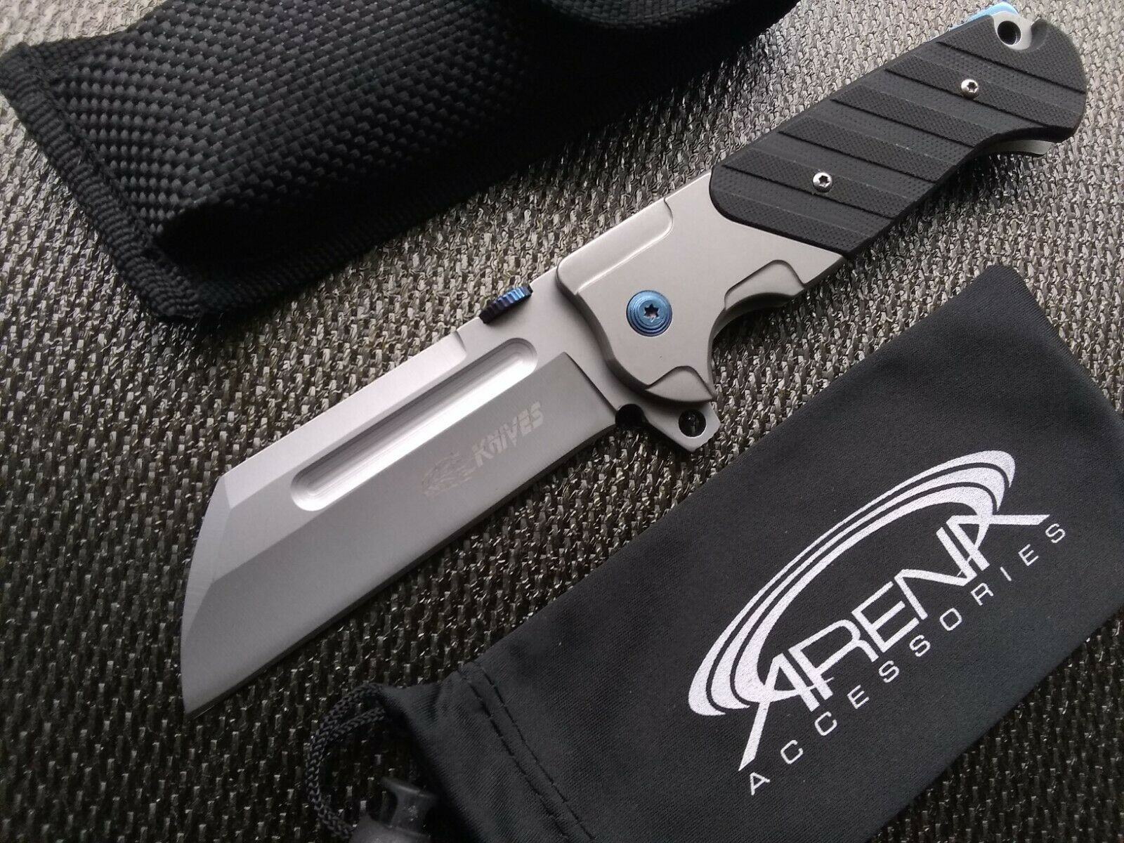 SR Knives 777 Sheepsfoot Cleaver Flipper Folding Pocket Knife Ball Bearing Pivot