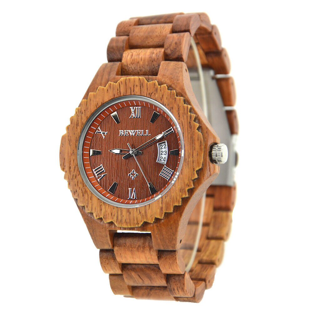 Real Annatto Red Wood BeWell Wrist Watch Mens or Womens Calendar Date Big 46mm Japan Miyota (Citizen) Mvmt