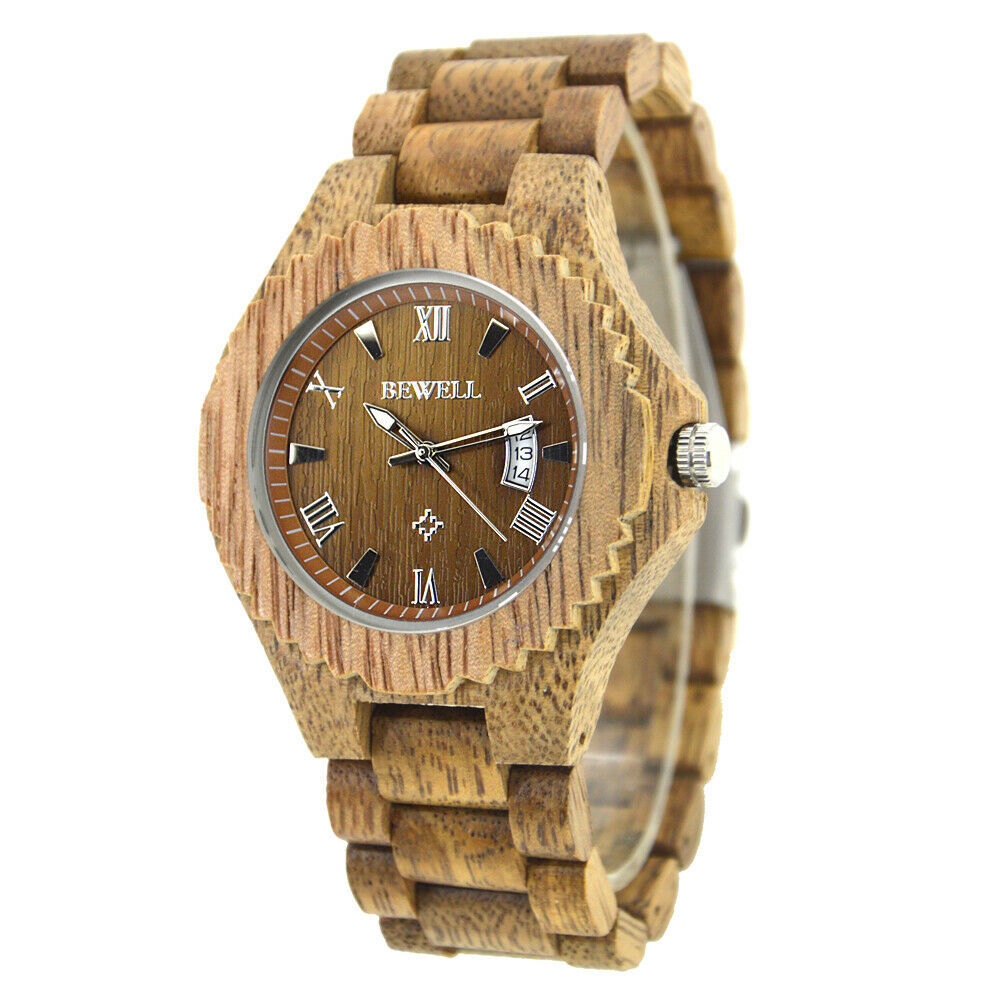 Real Black Walnut Wood BeWell Wrist Watch Mens Date Big 46mm Face with a Japan Miyota (Citizen) Movement