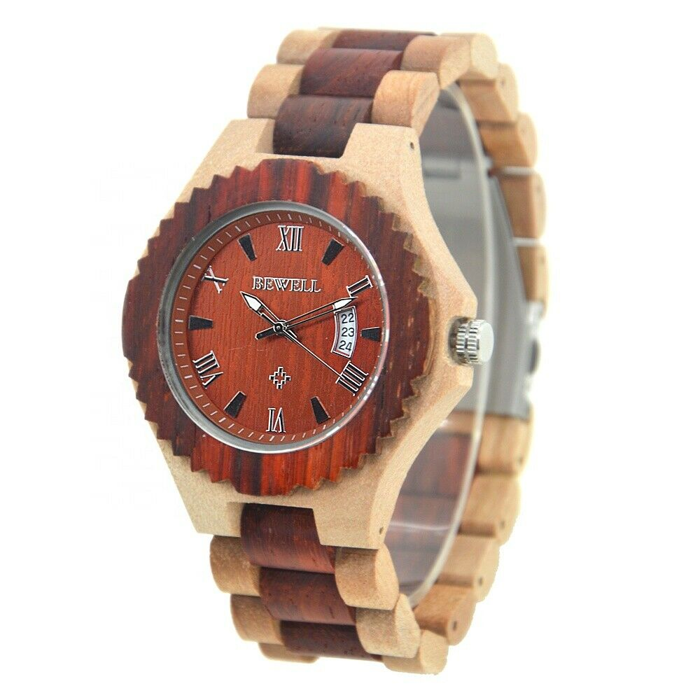 Real Wood Wrist Watch Jujube & Sandalwood Mens Date Big 46mm Japan Miyota Mvmt