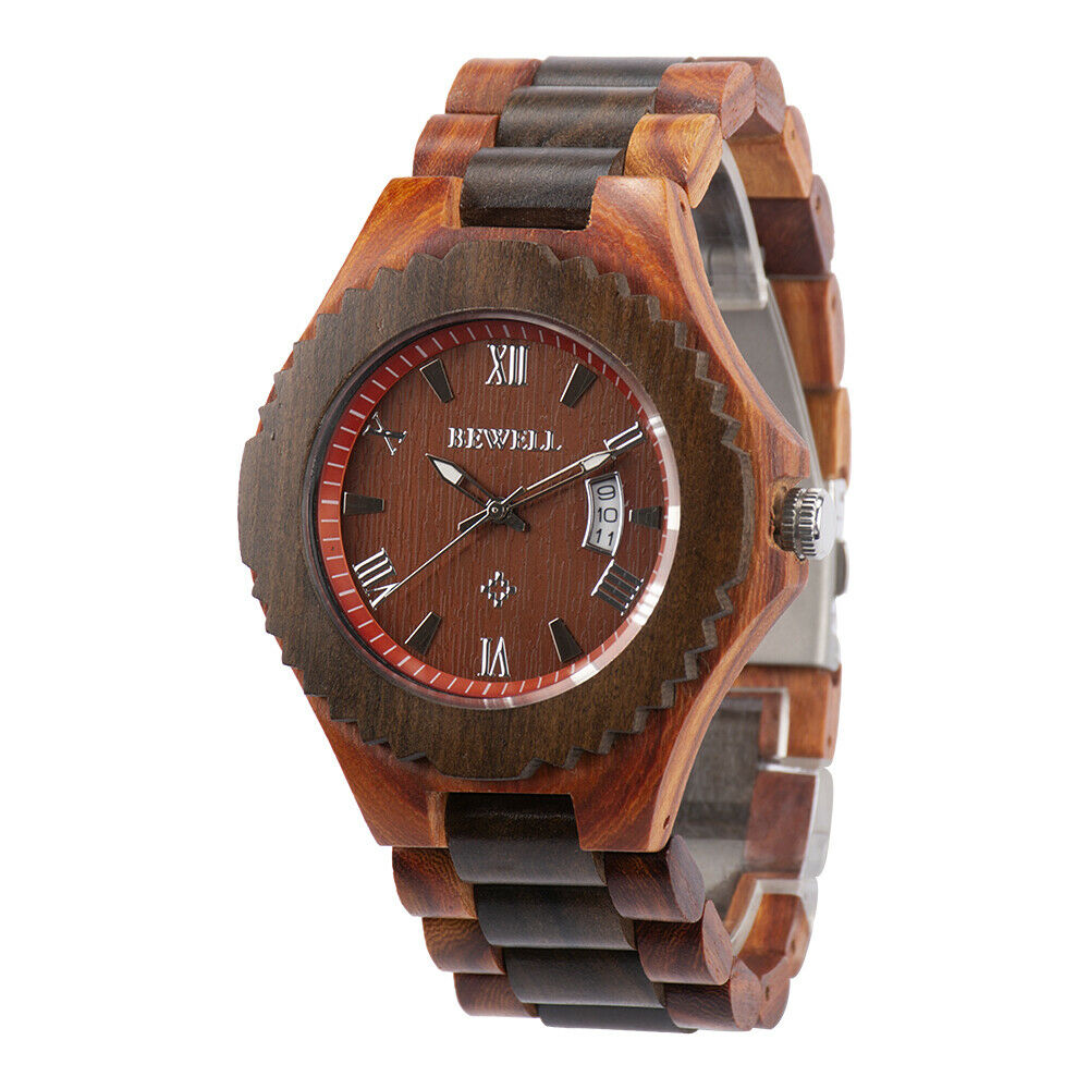 Real Wood Wrist Watch Red & Black Sandalwood Date Big 46mm Japan Miyota Movement BeWell