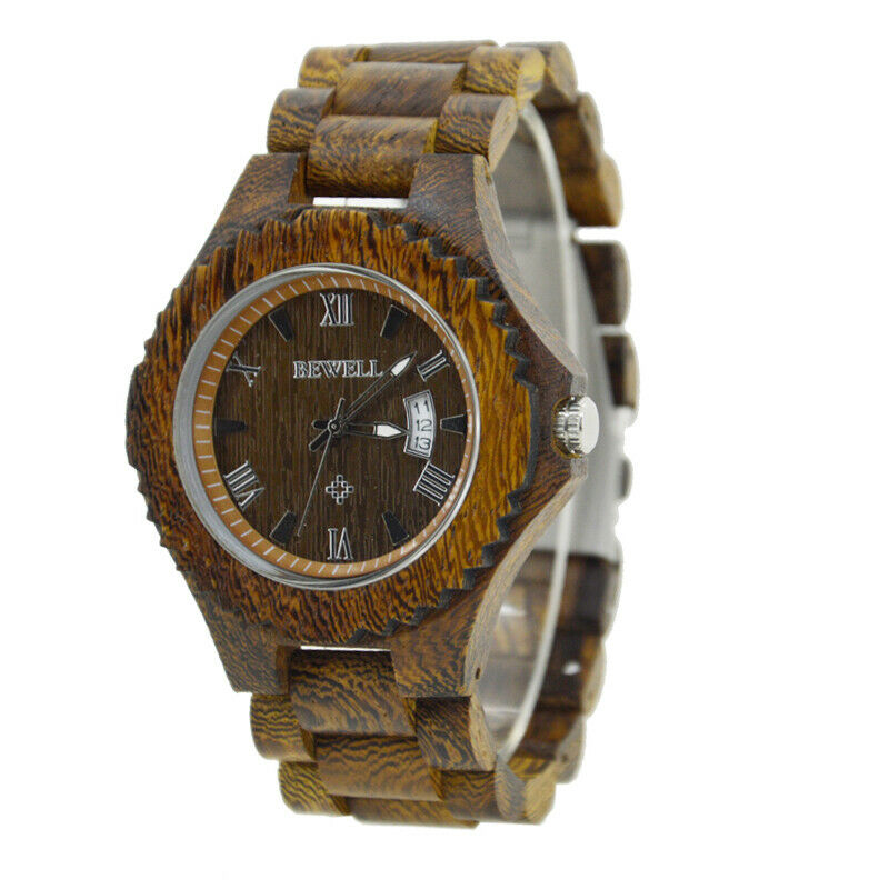 Real Rose Chestnut Wood Wrist Watch Men Women Date 46mm Japan Miyota Mvmt Wooden