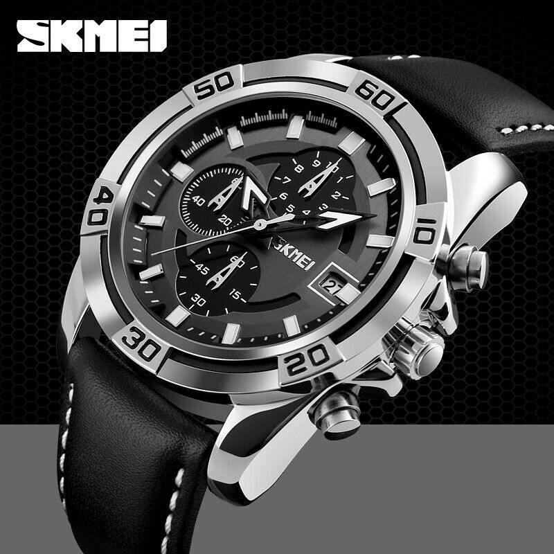 SKMEI Sport Watch Japan SEIKO Mvmt Leather Strap Stop Watch Calendar Date Black
