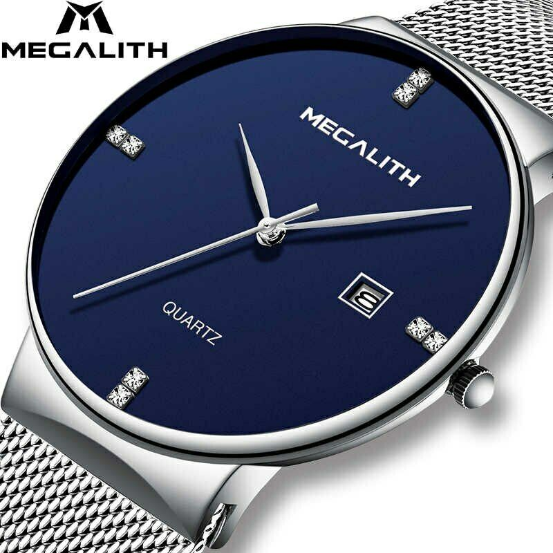 MEGALITH Minimalist Slim Wrist Watch Japan Seiko Mvmt Date Stainless Band Silver