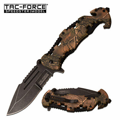 Bottle Opener Pocket Knife Forest Camo Spring Assisted Blade Heavy Duty Jimping