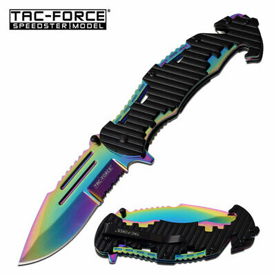 Bottle Opener Pocket Knife Rainbow EDC Spring Assisted Blade Heavy Duty Jimping