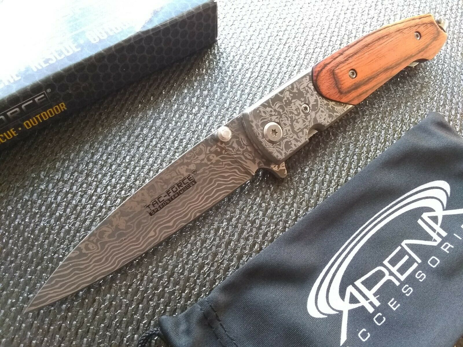 EDC Faux Damascus Pocket Knife Spring Assist Flipper Blade Wood Handle TF-672DBW