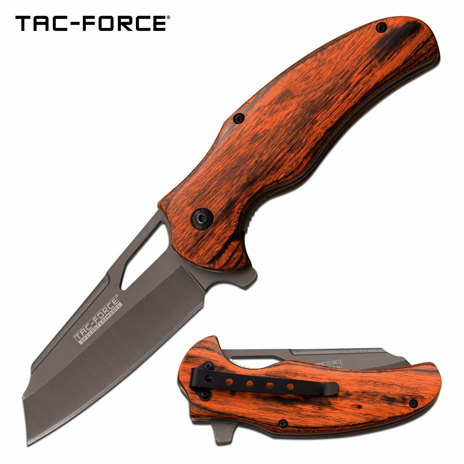 Tac-Force Sheepsfoot Pocket Knife Spring Assist Flipper Wood Handle Gray Ti Cleaver Blade