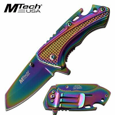 Iridescent Money Clip Assisted Pocket Knife Blade Mens Womens Beer Bottle Opener