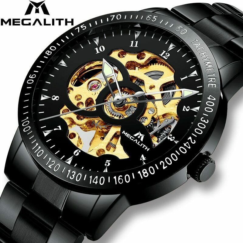 Megalith Black & Gold Skeletal Wrist Watch Mechanical Automatic Self Wind Mens