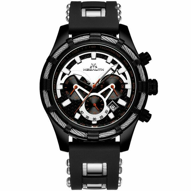 MEGALITH Mens Watch Lume Quartz Mvmt BIG FACE Black & Silver Rope Silicone Band 8042M