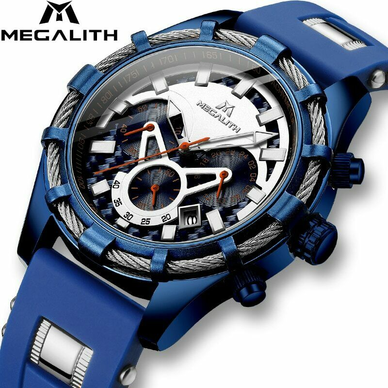 MEGALITH Men Watch Lume Quartz Mvmt BIG FACE Dark Blue Silver Rope Silicone Band