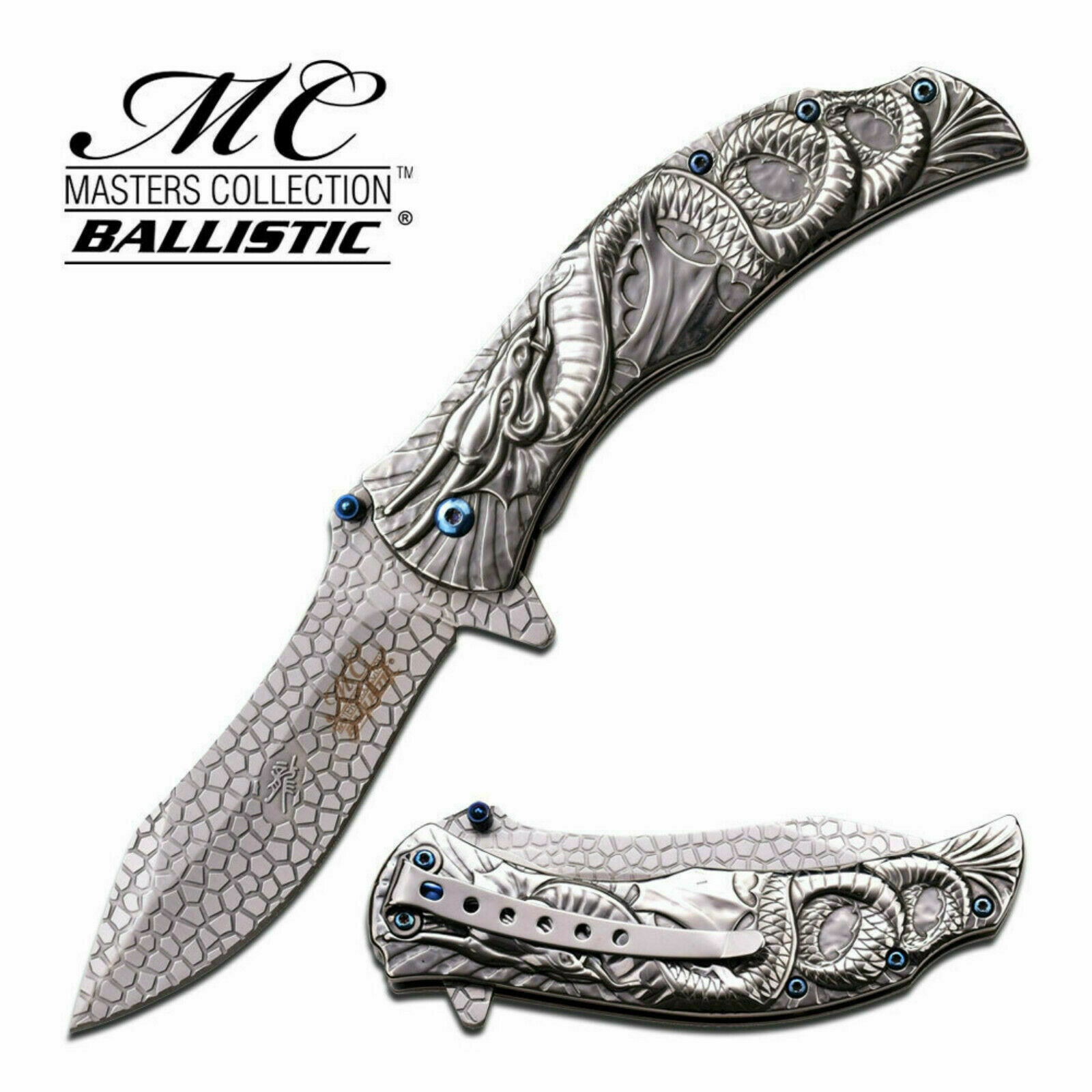 Dragon Scales Limited Edition Collectors Pocket Knife Spring Assist Chrome &Blue