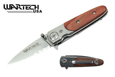 Wood Handle Pocket Knife Metal Spring Assist Everyday Carry Flipper EDC Blade