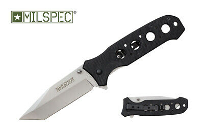 MILSPEC Black G10 Scale Spring Assist Pocket Knife Tanto Skeleton Flipper Blade