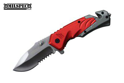 MILSPEC Red Spring Assist Pocket Knife EDC All Metal Flipper 1065 Surgical Steel