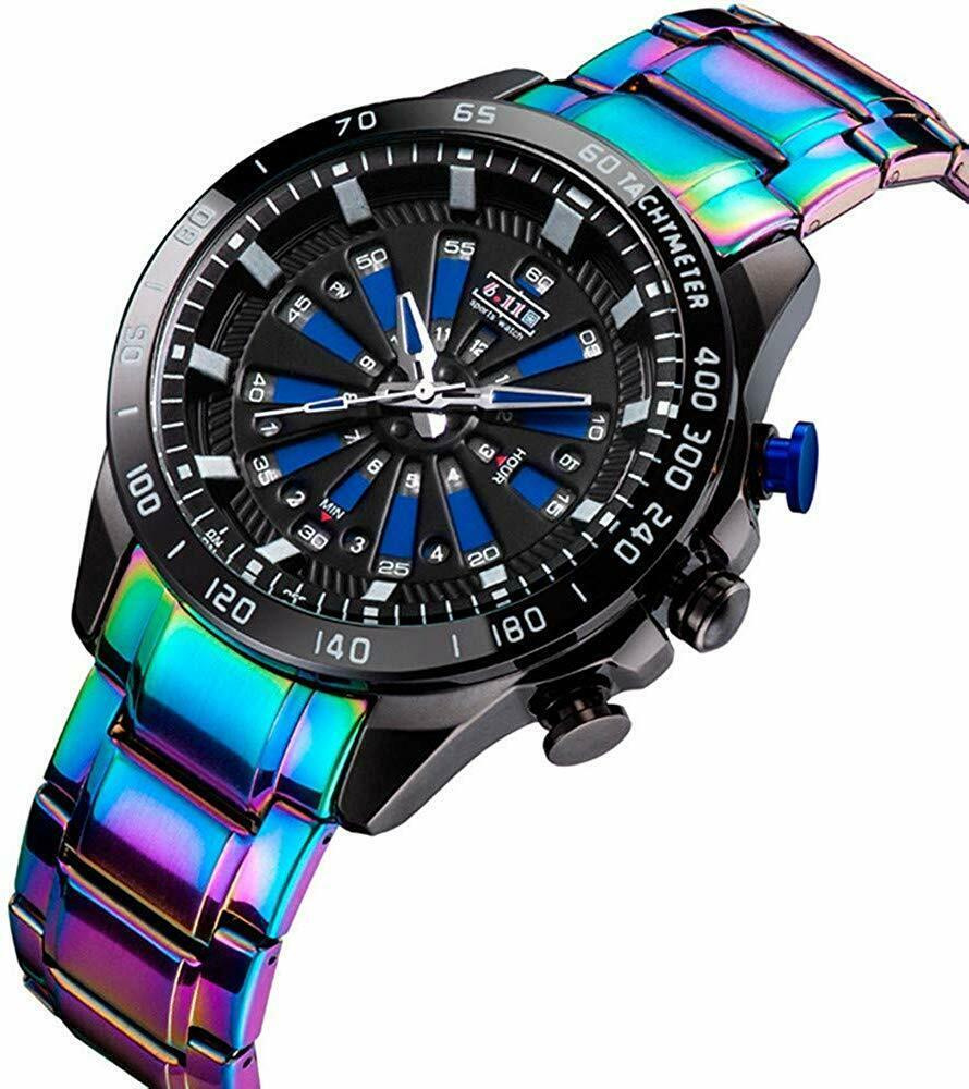 6.11 Iridescent Rainbow Fade Mens Wrist Watch 46mm Face Japan Mvmt Stainless Bracelet