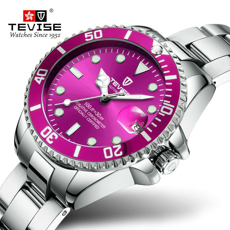 Tevise Ladies Pink Quartz Wrist Watch Waterproof Stainless Steel Womens Submariner Style Small Face