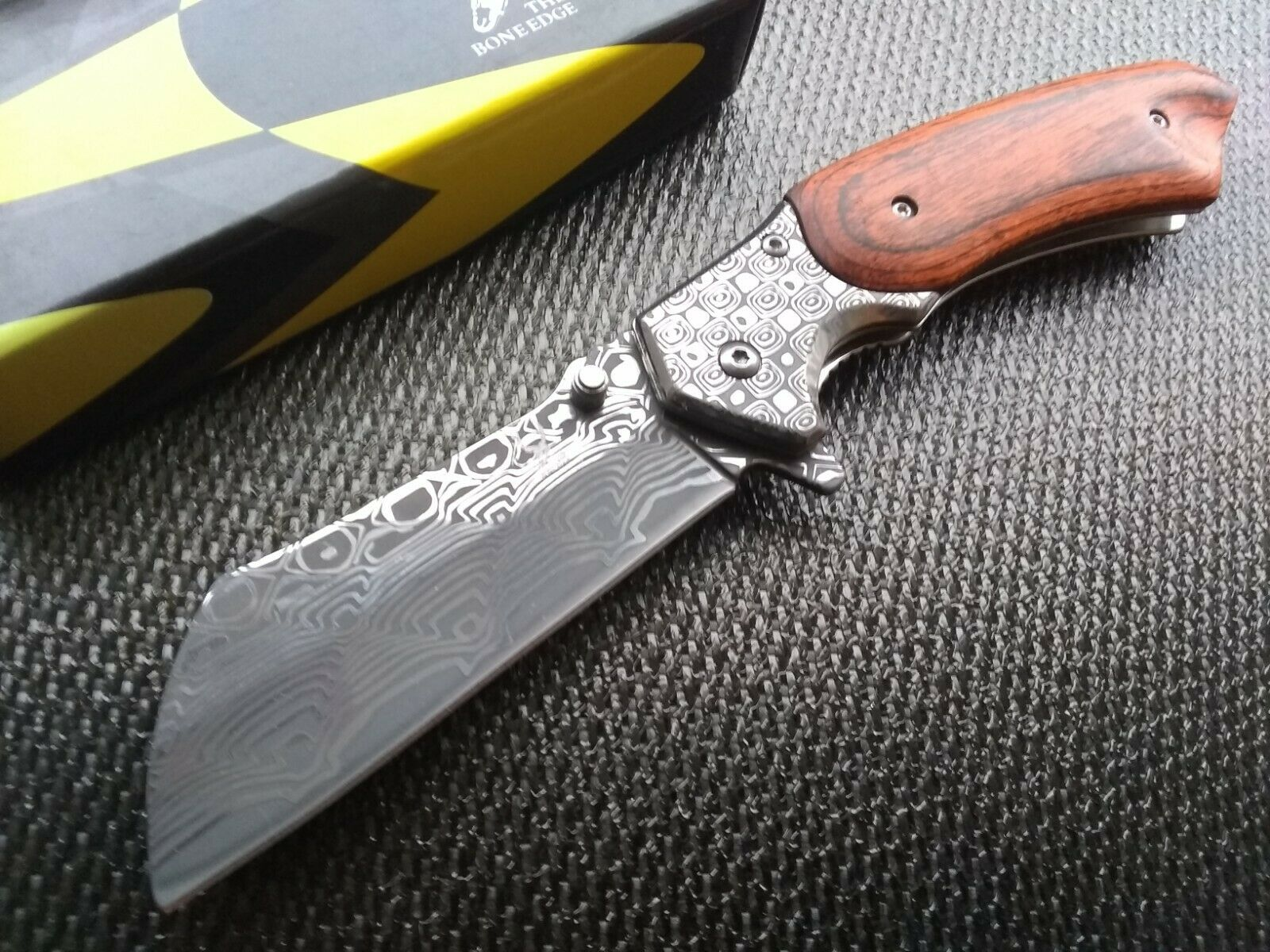 Acid Etch Damascus Pocket Knife Spring Assist Open Sheepsfoot Cleaver Blade EDC