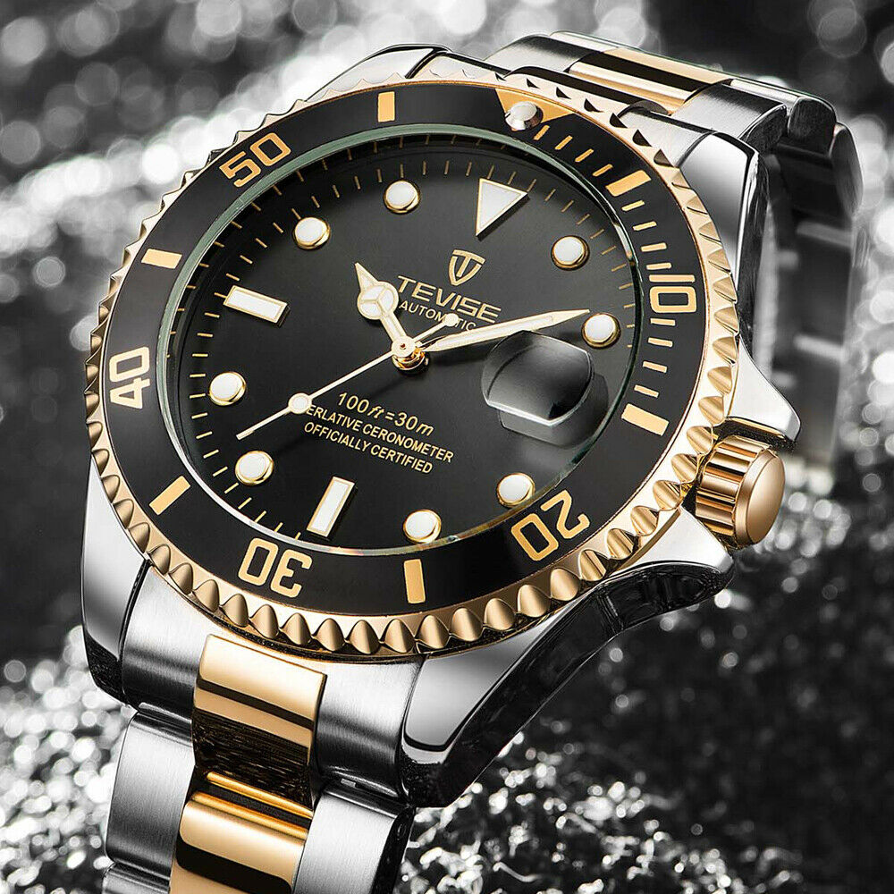 TEVISE Men Automatic Mechanical Submariner Homage Wrist Watch Diver GOLD & BLACK