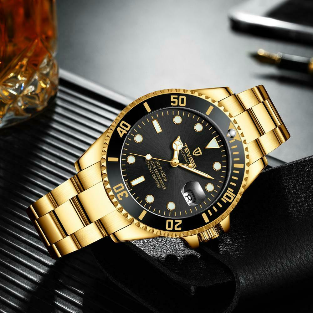 TEVISE Men Automatic Mechanical Submariner Homage Wrist Watch Diver BLACK & GOLD