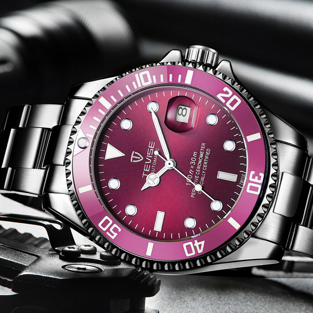 TEVISE Mens Luxury Automatic Mechanical Submariner Diver Wrist Watch Date PURPLE