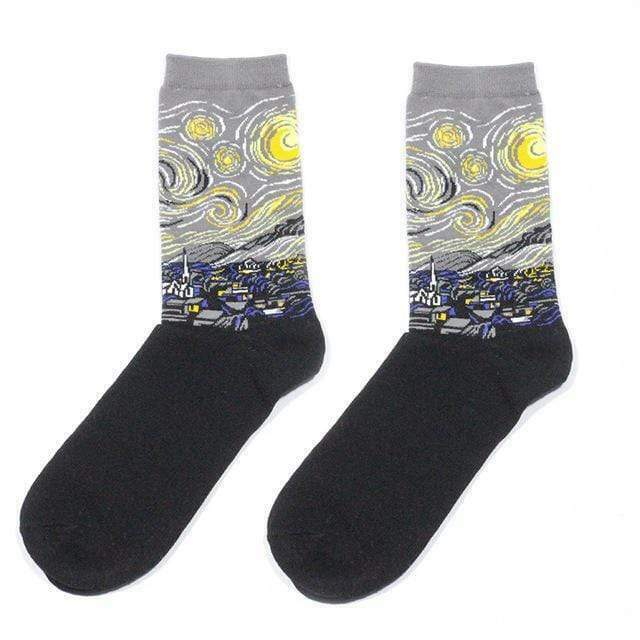 Funny Starry Night Painting Sock Art Silver Vincent Van Gogh Gag Gift Novelty