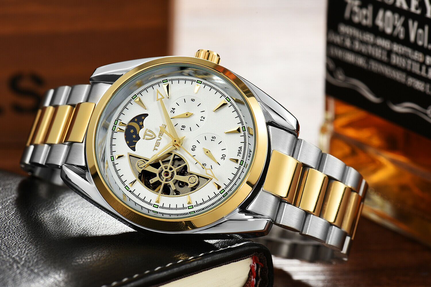 TEVISE Automatic Mechanical Watch Tourbillon Sun Moon Phase 42mm Gold Men Luxury