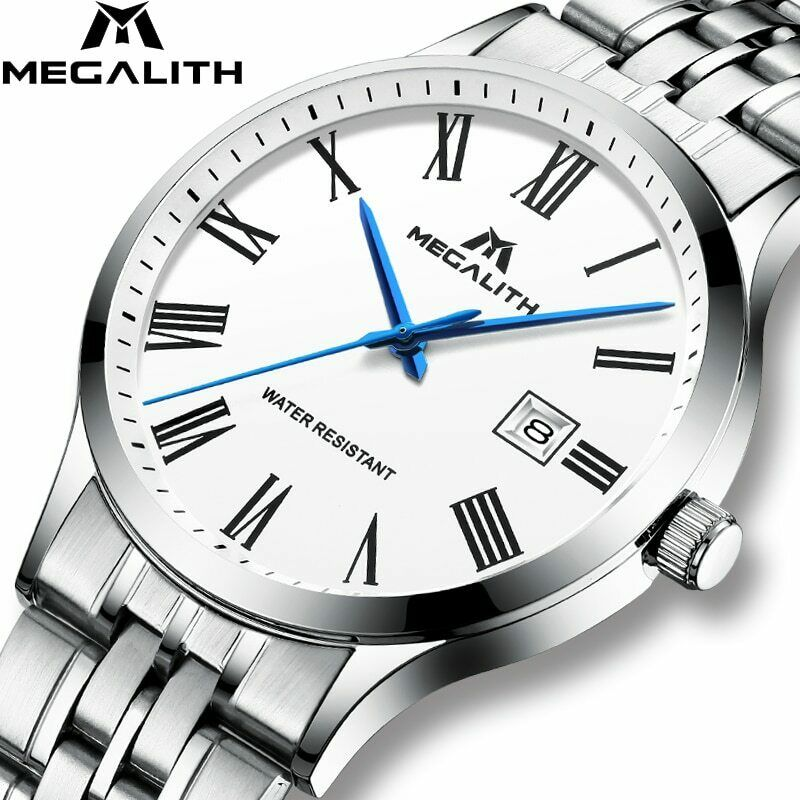 MEGALITH Slim Minimalist Wrist Watch Japan Seiko Mvmt Date Stainless Band Silver