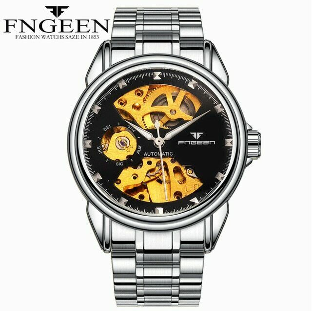FNGEEN Automatic Mechanical Skeleton Watch Self-Wind 39mm Gold Mens Budget EDC