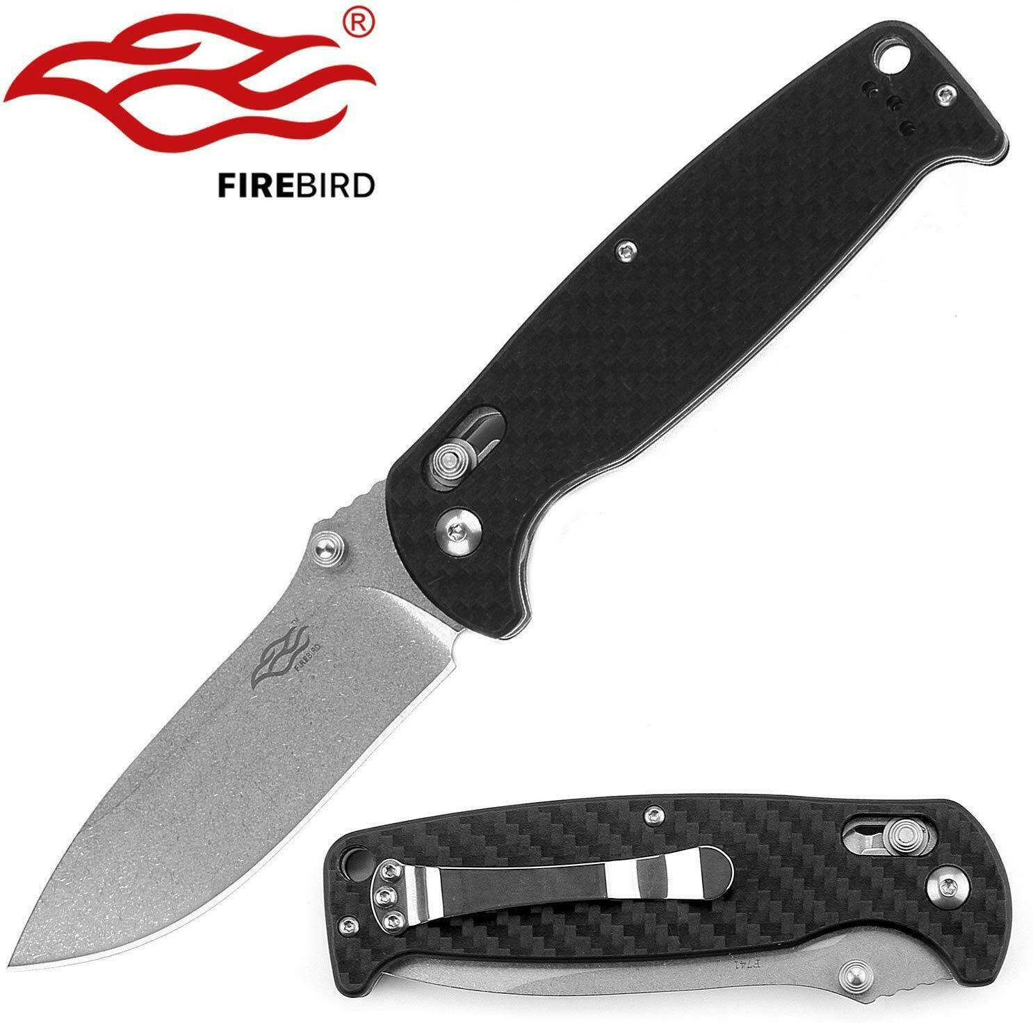 Ganzo G7412-CF Carbon Fiber 440C Steel Pocket Knife Tip-Up Carry Axis Lock EDC