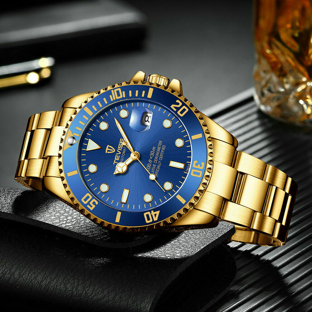 TEVISE Men Automatic Mechanical Submariner Homage Wrist Watch Diver BLUE & GOLD