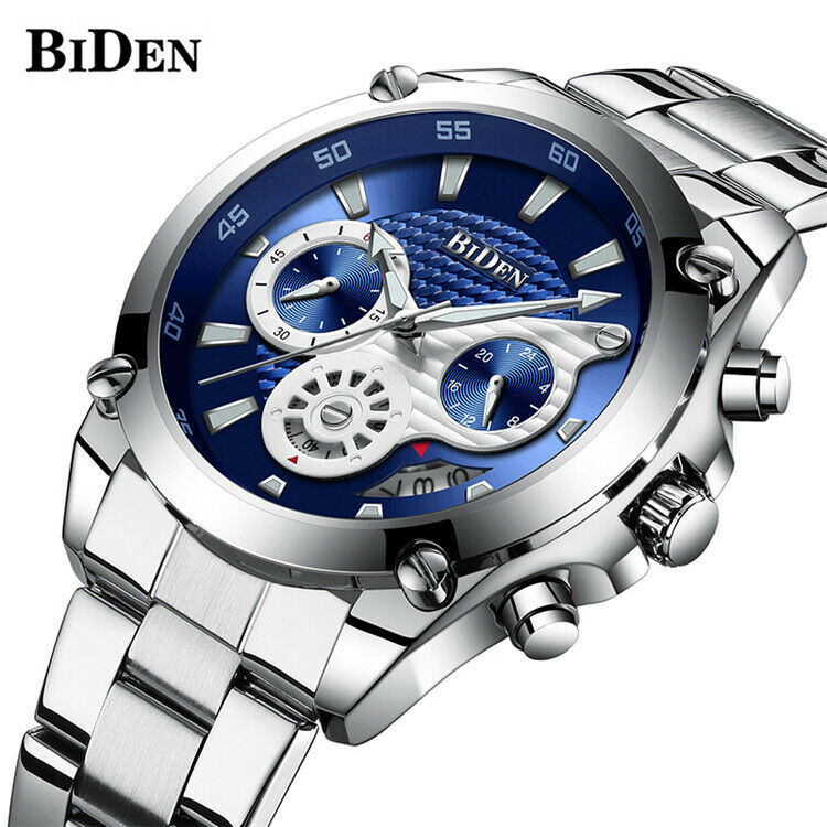 BIDEN Watch Luxury Japan Mvmt Carbon Fiber Textured Sub-Dial EDC 42mm Mens BLUE