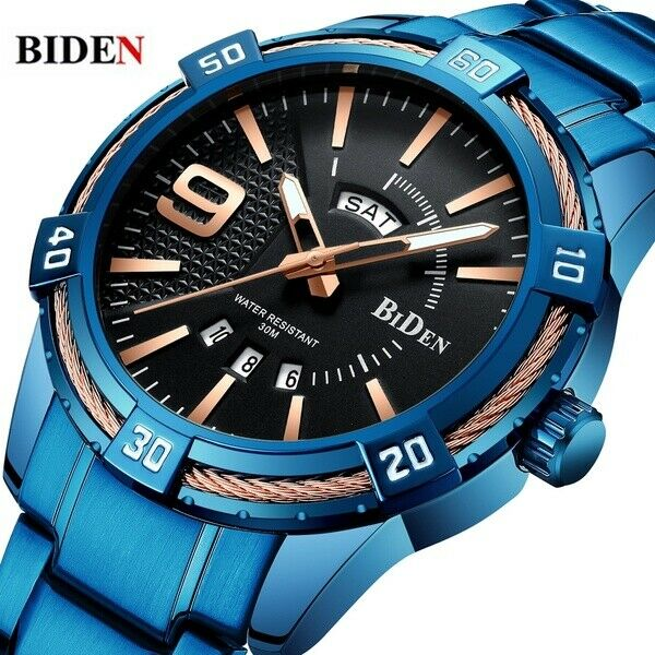BIDEN Blue Stainless Steel Men Wrist Watch Japan SEIKO Quartz Mvmt FAST USA SHIP
